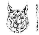 lynx stylized triangle... | Shutterstock .eps vector #623108072