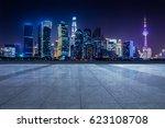 panoramic empty floor with... | Shutterstock . vector #623108708