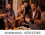 group of friends enjoying... | Shutterstock . vector #623112182