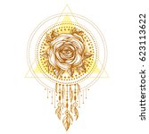 golden chaplet  rose flower... | Shutterstock .eps vector #623113622
