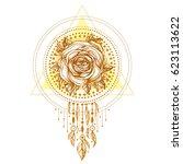 golden chaplet  rose flower... | Shutterstock .eps vector #623113622