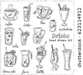 vector set with beverages hand... | Shutterstock .eps vector #623114912