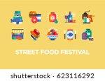 street food festival icons | Shutterstock .eps vector #623116292