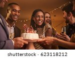 group of friends celebrating... | Shutterstock . vector #623118212