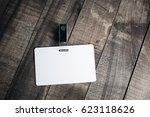 blank white plastic badge.... | Shutterstock . vector #623118626