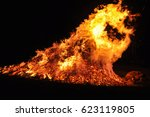 hot dangerous fire | Shutterstock . vector #623119805