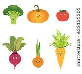 vector set of cartoon vegetable ...   Shutterstock .eps vector #623125205