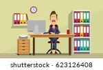 manager in the office room.... | Shutterstock .eps vector #623126408