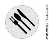 fork  knife  plate and spoon... | Shutterstock .eps vector #623130878