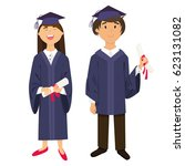 graduates  girl and boy ... | Shutterstock .eps vector #623131082