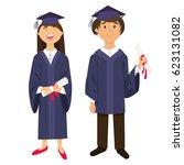 graduates  girl and boy ...   Shutterstock .eps vector #623131082