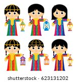 girls are wearing an old... | Shutterstock .eps vector #623131202