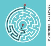 circular maze with way from... | Shutterstock .eps vector #623134292