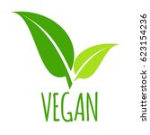 vegan  green leaves logo  vector | Shutterstock .eps vector #623154236