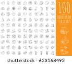 tea line icon set   cup  bag ... | Shutterstock .eps vector #623168492