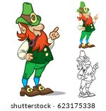 funny cartoon leprechaun.... | Shutterstock .eps vector #623175338