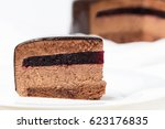 slice of chocolate mousse cake... | Shutterstock . vector #623176835
