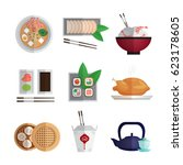 asian food colorful flat icons...   Shutterstock .eps vector #623178605