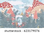 wonderland background.... | Shutterstock .eps vector #623179076