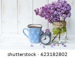 bouquet of lilac  with alarm... | Shutterstock . vector #623182802
