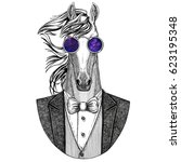 Stock photo horse hoss knight steed courser hipster animal hand drawn illustration for tattoo emblem 623195348