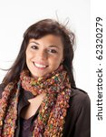 happy woman with a scarf - stock photo