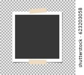 photo frame with sticky tape on ... | Shutterstock .eps vector #623203058
