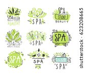 spa healthy beauty studio set... | Shutterstock .eps vector #623208665