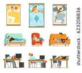 people sleeping in different... | Shutterstock .eps vector #623208836