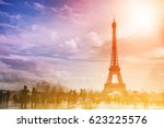view of the eiffel tower  paris ... | Shutterstock . vector #623225576