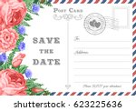 vintage postcard wedding...   Shutterstock .eps vector #623225636