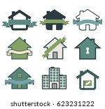 real estate symbol house logos... | Shutterstock .eps vector #623231222