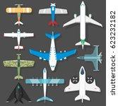 aircraft different plains top... | Shutterstock .eps vector #623232182