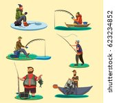 set of fisherman catches fish... | Shutterstock .eps vector #623234852