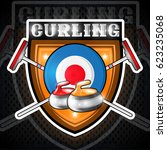 curling red and yellow stones... | Shutterstock .eps vector #623235068