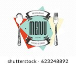 restaurant menu design. vector... | Shutterstock .eps vector #623248892