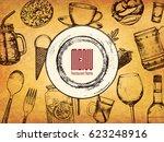restaurant menu design. vector... | Shutterstock .eps vector #623248916