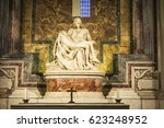 Small photo of Vatican City, Vatican - January 4, 2017: The Piety of the Vatican or Pieta is a sculptural group in marble by Michelangelo in the interior of Papal basilica of Saint Peter in Vatican City