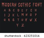 modern gothic font   red gothic ... | Shutterstock .eps vector #623251016