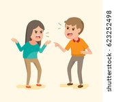 angry young couple fighting and ... | Shutterstock .eps vector #623252498