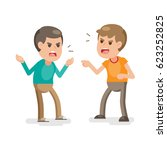 two young men fighting angry... | Shutterstock .eps vector #623252825