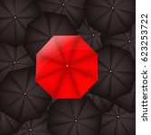 red umbrella against black... | Shutterstock . vector #623253722