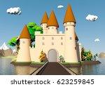 cartoon medieval castle on... | Shutterstock . vector #623259845
