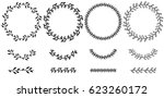 set of doodle floral line and... | Shutterstock .eps vector #623260172