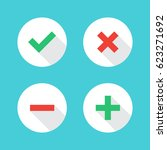 tick  cross  plus  minus icon... | Shutterstock .eps vector #623271692