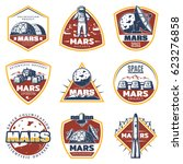 colored vintage space labels... | Shutterstock .eps vector #623276858