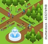 isometric summer park concept... | Shutterstock .eps vector #623276948