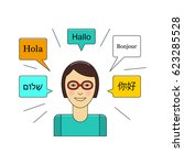 learn language concept with... | Shutterstock .eps vector #623285528