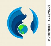earth day paper cut out... | Shutterstock .eps vector #623298206