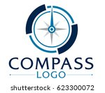 blue logo with compass